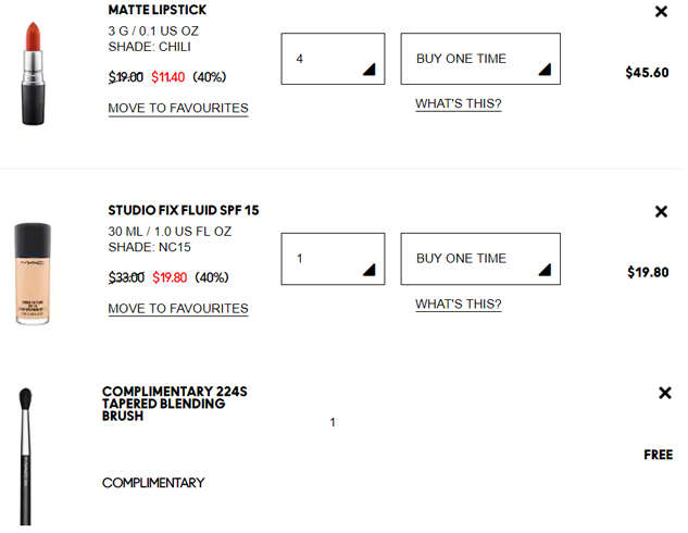 MAC魅可美国官网海淘全场额外6折,满$65送自选眼影刷